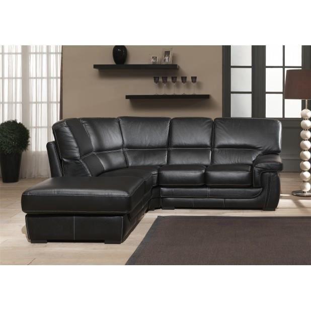 Canap cuir angle gauche noir achat vente canap sofa divan cdiscount - Canape angle gauche cuir ...