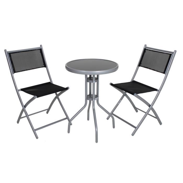set de jardin et balcon pliable noir lara achat vente salon de jardin set de jardin et. Black Bedroom Furniture Sets. Home Design Ideas