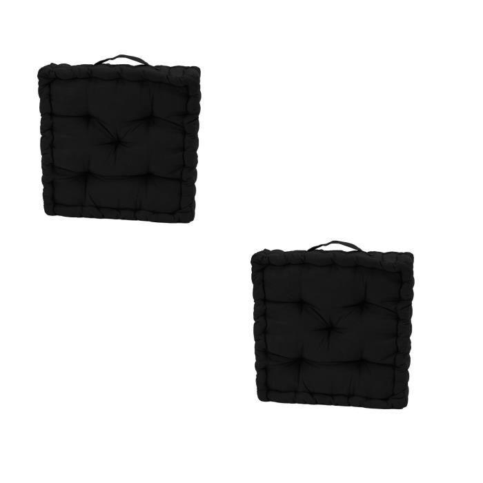 lot de 2 coussins de sol serge noir 40x40x10 achat vente coussin cdiscount. Black Bedroom Furniture Sets. Home Design Ideas