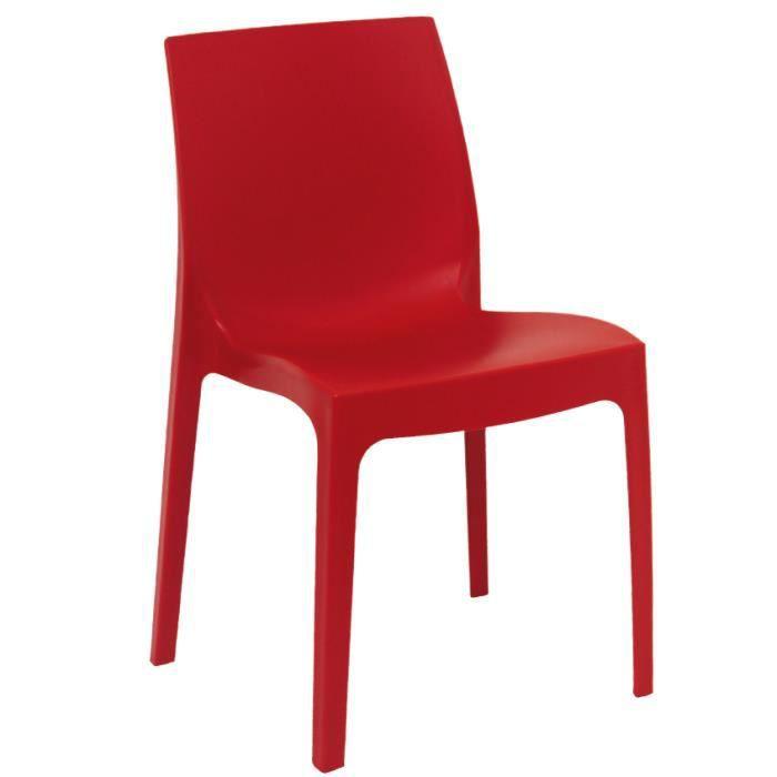 Lot de 4 chaises rome rouge achat vente chaise for Chaise de jardin rouge