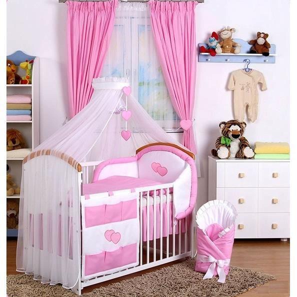 Set de linge de chambre b b 15 pcs ciel de lit rose rose - Linge de chambre ...