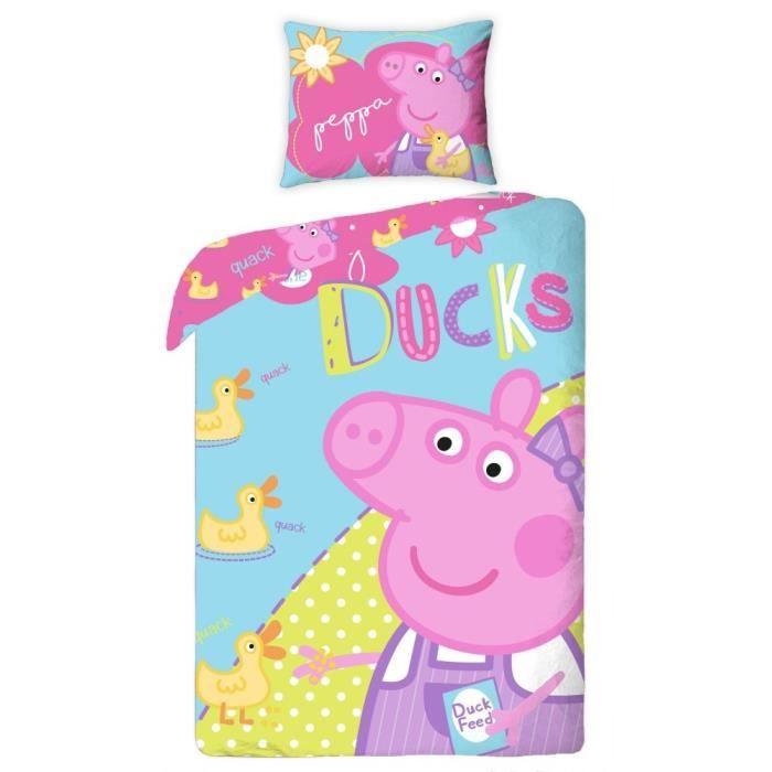 peppa pig parure de lit housse de couette peppa pig 100. Black Bedroom Furniture Sets. Home Design Ideas