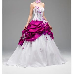 ROBE DE MARIÉE Robe de mariée blanc/rose fushia , Taille 38. \u2039\u203a