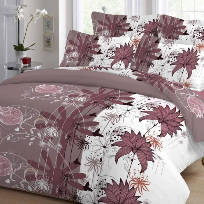 housse de couette floral bois de rose lin de vin 220 x 240 2 taies coton tissage serr sim 22. Black Bedroom Furniture Sets. Home Design Ideas