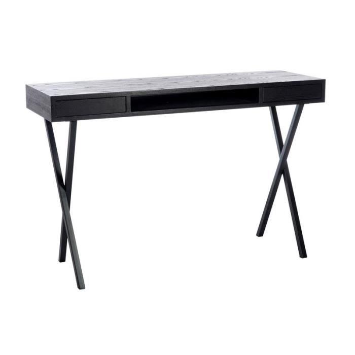 bureau 2 tiroirs bois noir prague taille l 120 x l 40 x h 77 couleur marketing noir. Black Bedroom Furniture Sets. Home Design Ideas
