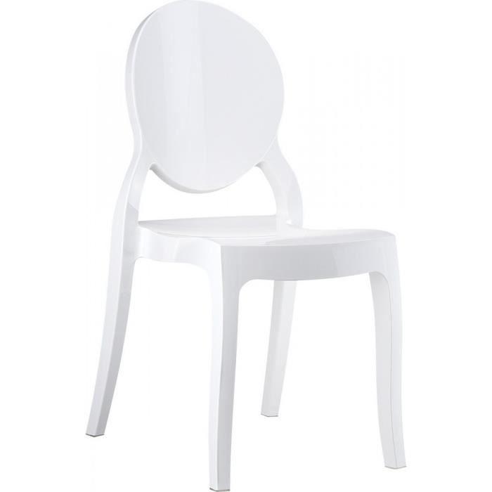 Lot 4 chaises elizabeth m daillon transparentes blanc achat vente chaise blanc cdiscount - Chaise transparente elizabeth cosy ...
