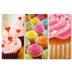 Tableau triptyque cupcakes 60 x 90 cm achat vente for Toile pour cuisine