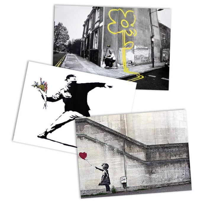 ensemble de poster banksy grafitti street art achat vente affiche cdiscount. Black Bedroom Furniture Sets. Home Design Ideas