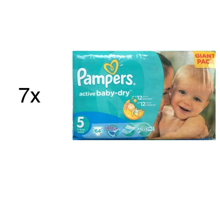 448 couches pampers active baby dry taille 5 achat. Black Bedroom Furniture Sets. Home Design Ideas