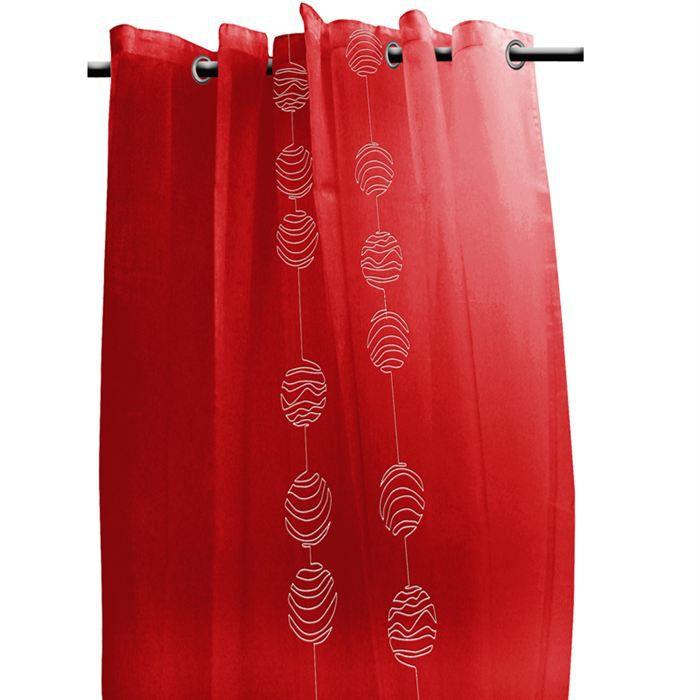 voilage a oeillets 140x240 cm lunaire rouge blanc achat vente rideau voilage cdiscount. Black Bedroom Furniture Sets. Home Design Ideas