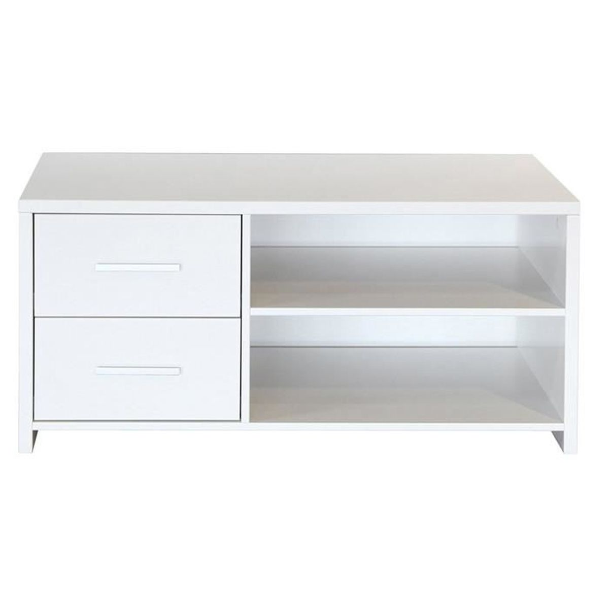 Meuble tv coloris blanc dim 47 x 101 x 49 cm achat for Meuble tv 49 pouces