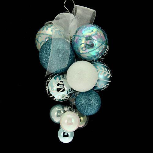 Lot De 15 Boules De No L Grappe Blanc Et Bleu Achat Vente Boule De No L Plastique Cdiscount