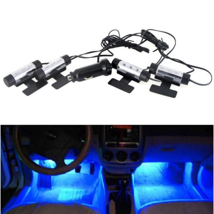 4x3led lampe sous pieds auto voiture d corative int rieur achat vente d c - Deco interieur voiture ...