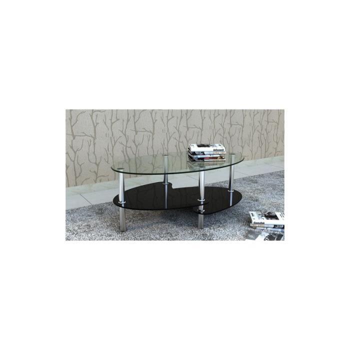 Convient tous les salons plateau de verre sup rieur en for Table basse ovale noire