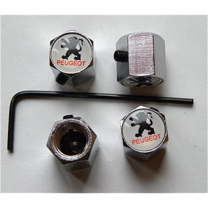 bouchon de valve avec antivol logo peugeot achat vente d coration v hicule bouchon de valve. Black Bedroom Furniture Sets. Home Design Ideas