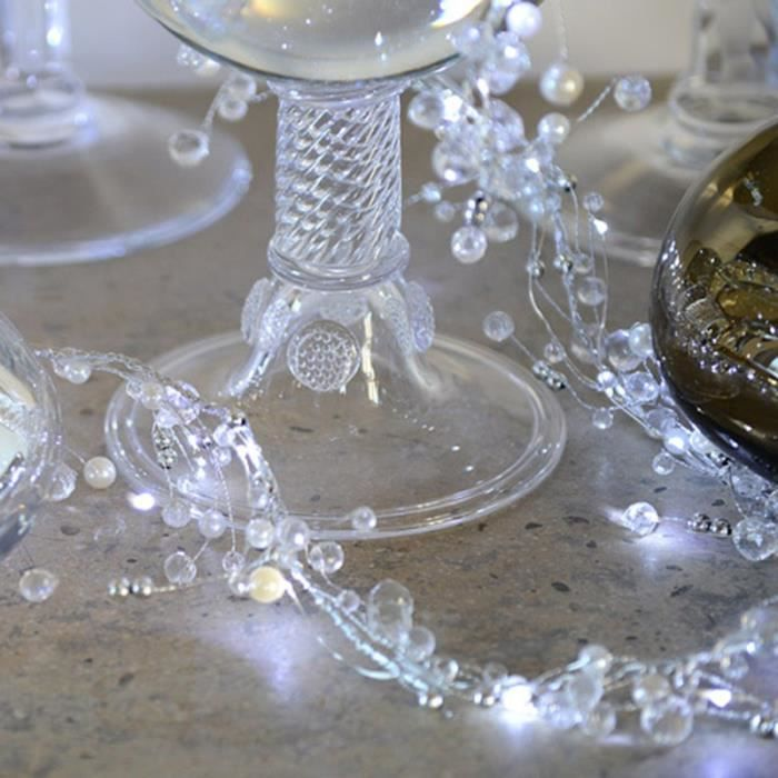guirlande led perles et cristaux blancs achat vente guirlande led perles et cri cdiscount. Black Bedroom Furniture Sets. Home Design Ideas