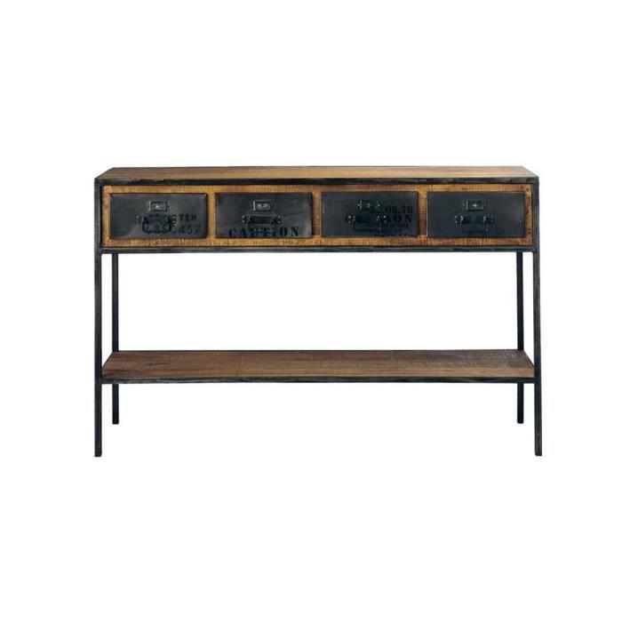 bureau vintage industriel tiroirs acier et boi achat vente bureau bureau vintage. Black Bedroom Furniture Sets. Home Design Ideas