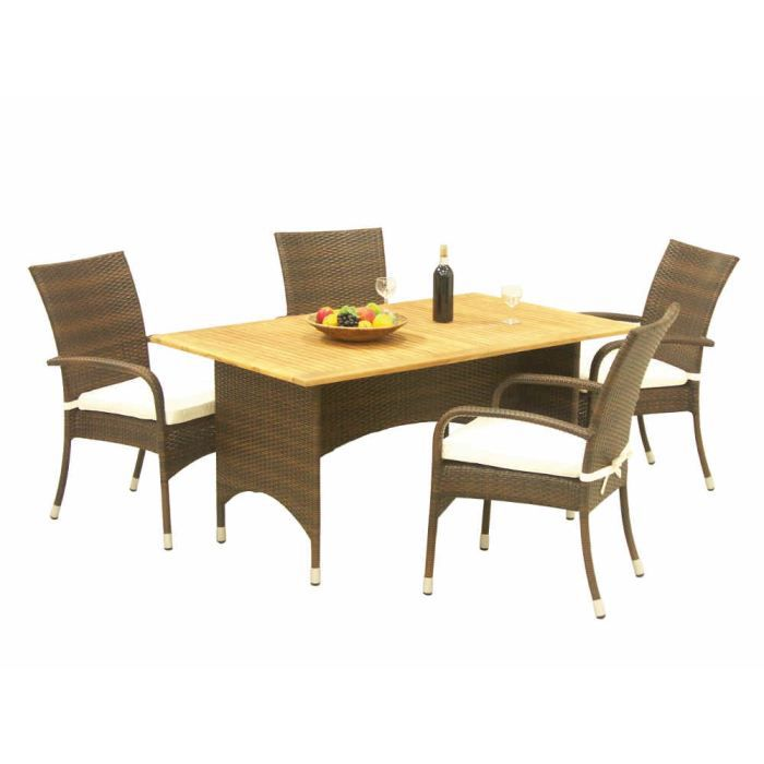 ensemble repas 4 places en polyr sine et teck achat vente salon de jardin ensemble repas 4. Black Bedroom Furniture Sets. Home Design Ideas
