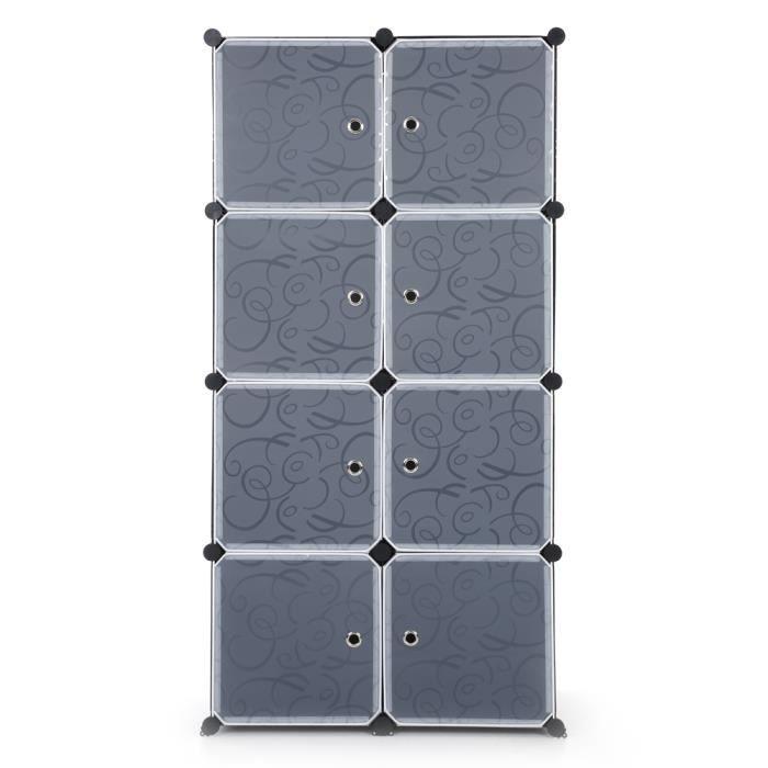 Armoire modulable 8 cubes bricolage noir et blanc achat for Cube de rangement modulable fly