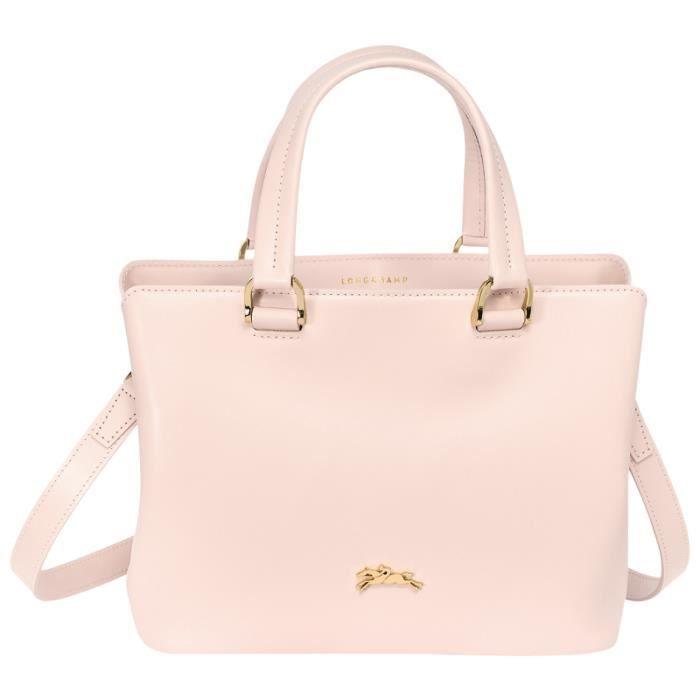 Longchamp sac main femme en cuir port main et bandouli re couleur rose pastel achat - Porte sac a main ...