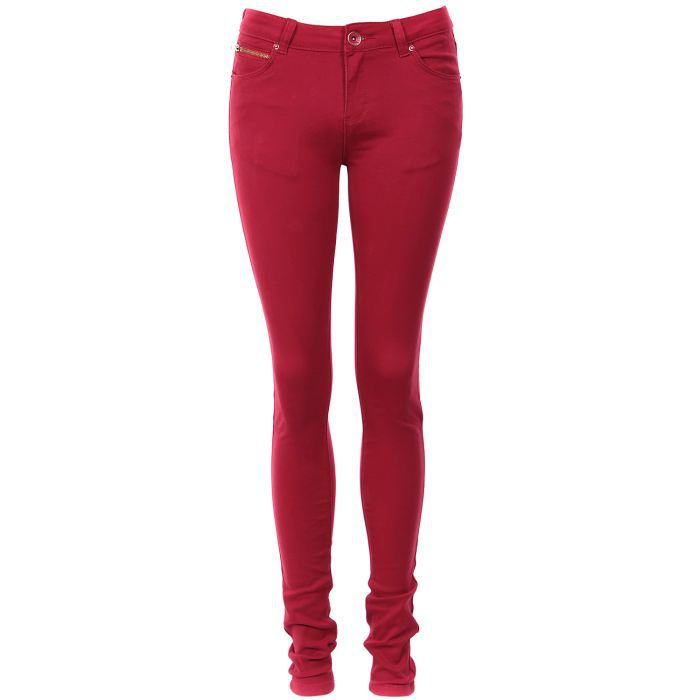 pantalon slim taille haute ultra rouge rouge rouge achat vente pantalon cdiscount. Black Bedroom Furniture Sets. Home Design Ideas