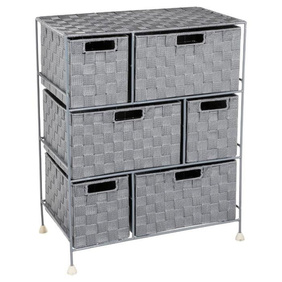 meuble de rangement 6 tiroirs design et pratique coloris gris achat vente petit meuble. Black Bedroom Furniture Sets. Home Design Ideas