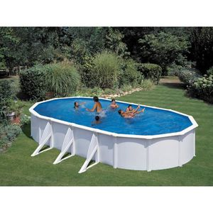 PISCINE Kit piscine acier ovale Atlantis blanche - 7.30 x