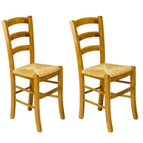 Lot 2 chaises h tre assise seigle venezia achat vente - Assise de chaise en paille ...