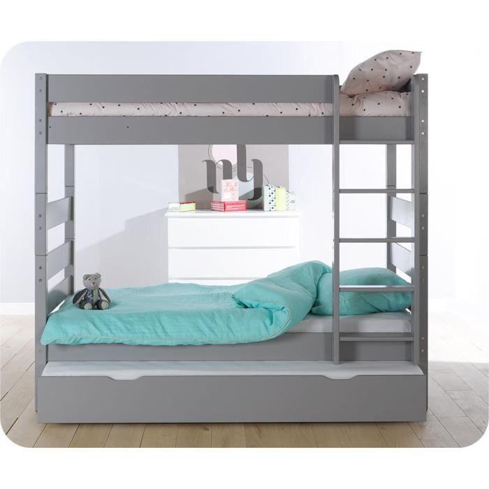 pack lit superpos kids gris tiksy avec tiroir de lit et 2 matelas achat vente lits. Black Bedroom Furniture Sets. Home Design Ideas