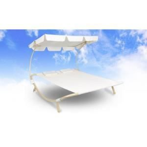 Bain de soleil pour 2 personnes beige achat vente for Chaise longue pour 2 personnes