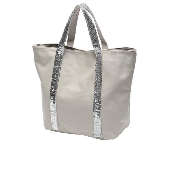 sac cabas femme beige beige achat vente sac shopping. Black Bedroom Furniture Sets. Home Design Ideas