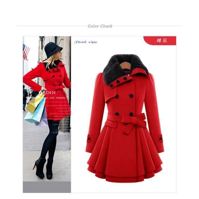 long manteau femme veste caban blouson rouge cu achat. Black Bedroom Furniture Sets. Home Design Ideas