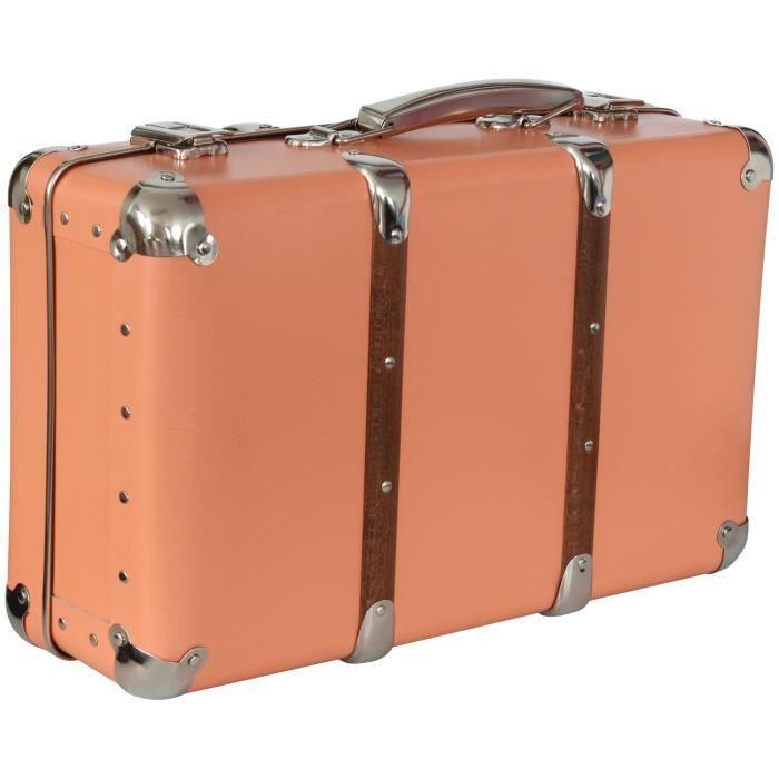 valise d corative rangement corail 40x27x14cm achat vente boite bac de rangement carton. Black Bedroom Furniture Sets. Home Design Ideas