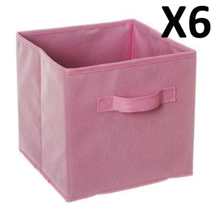 lot de 6 paniers cube de rangement pliable rose clair l. Black Bedroom Furniture Sets. Home Design Ideas