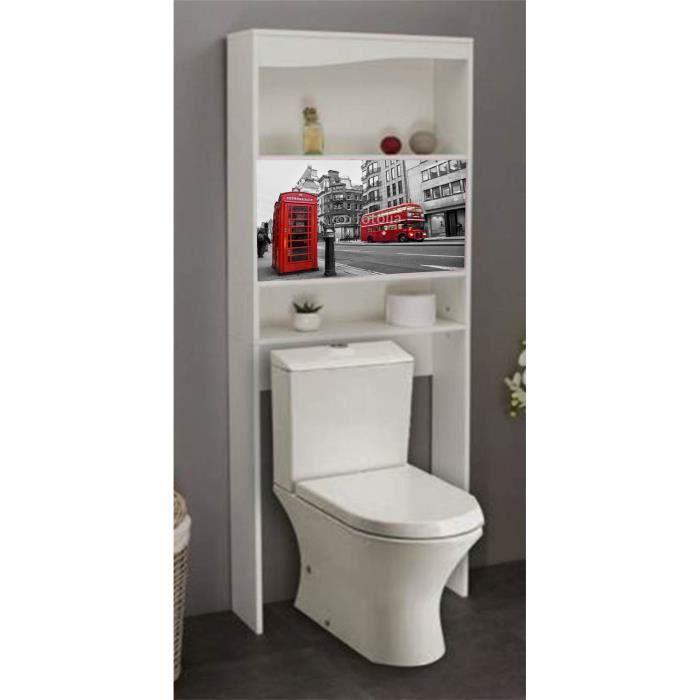 Meuble wc london en bois avec 2 portes coulissantes 63 x 23 x 175 cm achat - Meuble salle de bain porte coulissante ...