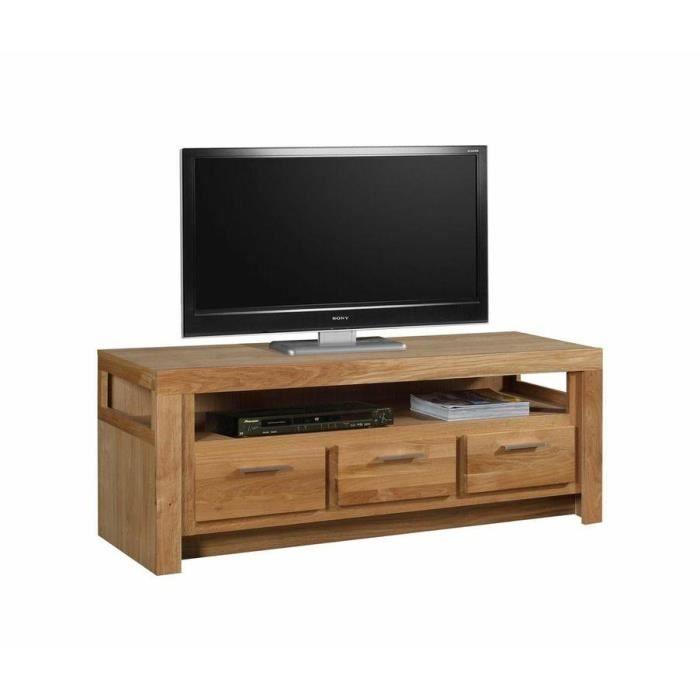 meuble t l avec 3 tiroirs en ch ne massif 150x achat vente meuble tv meuble t l avec 3. Black Bedroom Furniture Sets. Home Design Ideas