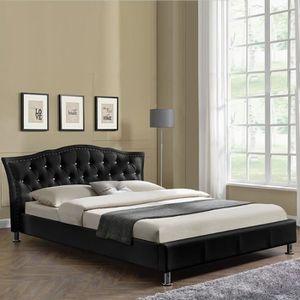 lit capitonne blanc achat vente lit capitonne blanc pas cher cdiscount. Black Bedroom Furniture Sets. Home Design Ideas