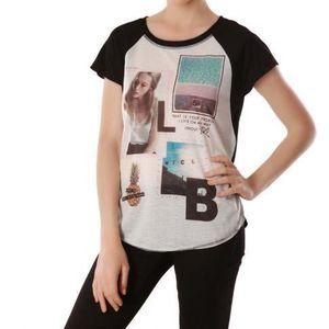 T-SHIRT T-shirt bi matière imprimé photo...