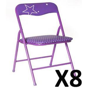 CHAISE Lot de 8 Chaises enfant Pliantes Métal Violet, L 3