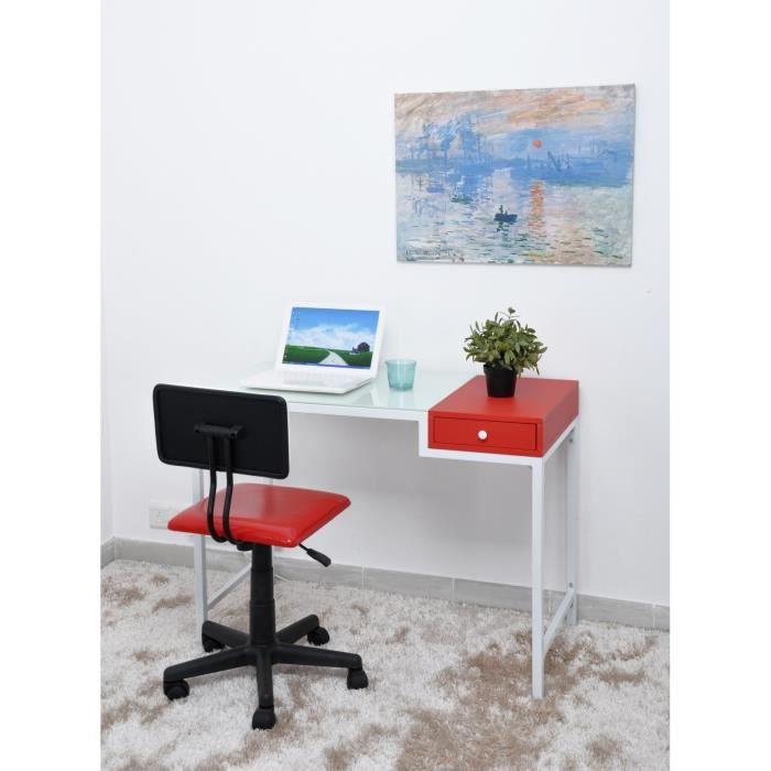 Aspen bureau droit tiroir 100x50cm blanc achat vente for Bureau 50 cm