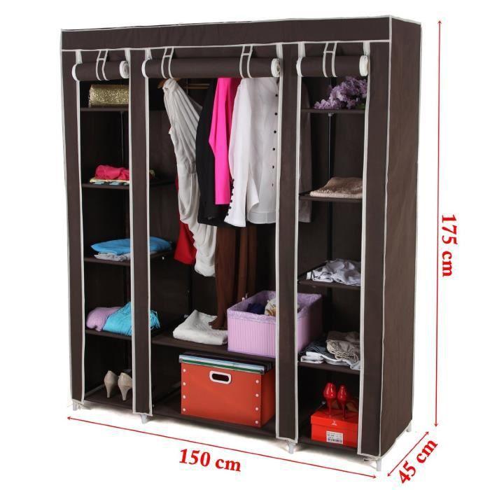 toile armoire penderie en tissus pliable 150 x 45 x 180 cm. Black Bedroom Furniture Sets. Home Design Ideas
