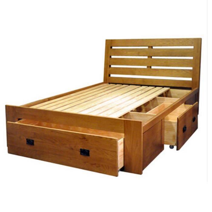 Huayi lit en ch ne massif 1 8m double lit avec tiroir for Chambre a coucher lit avec tiroir