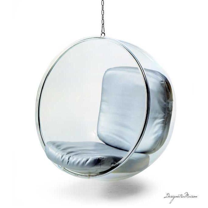 fauteuil suspendu bubble chair coussin argent achat vente fauteuil cdiscount. Black Bedroom Furniture Sets. Home Design Ideas
