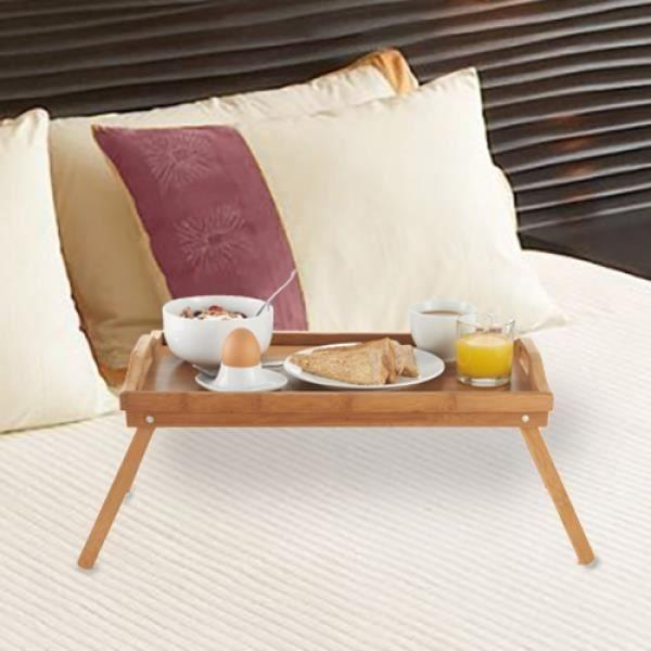 Plateau petit d jeuner au lit bambou achat vente plat - Table de petit dejeuner au lit ...