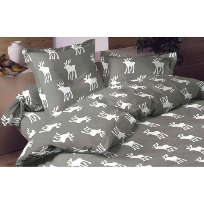 Housse de couette flanelle moose grey 220x240 avec 2 taies - Housse couette flanelle 220x240 ...