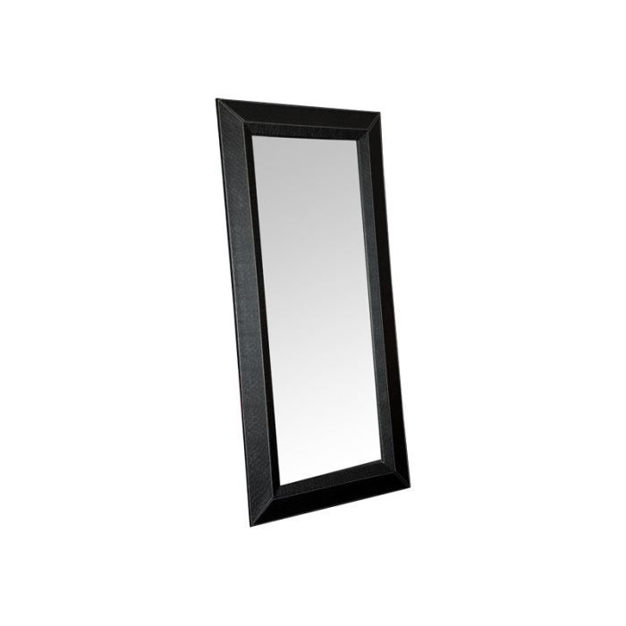 Miroir rectangulaire aspect autruche noir achat for O miroir la rochelle