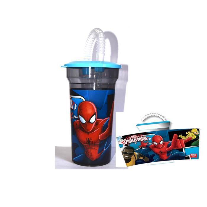 verre avec couvercle et paille spiderman marvel officiel achat vente verre eau soda. Black Bedroom Furniture Sets. Home Design Ideas