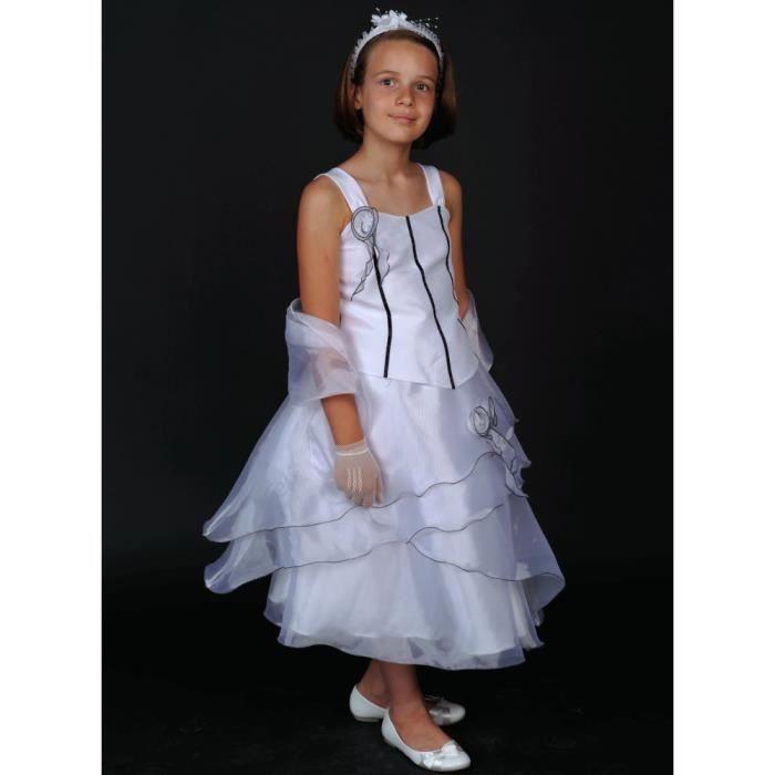 robe c r monie fille lou blanche noir noir achat vente robe de c r monie cdiscount. Black Bedroom Furniture Sets. Home Design Ideas