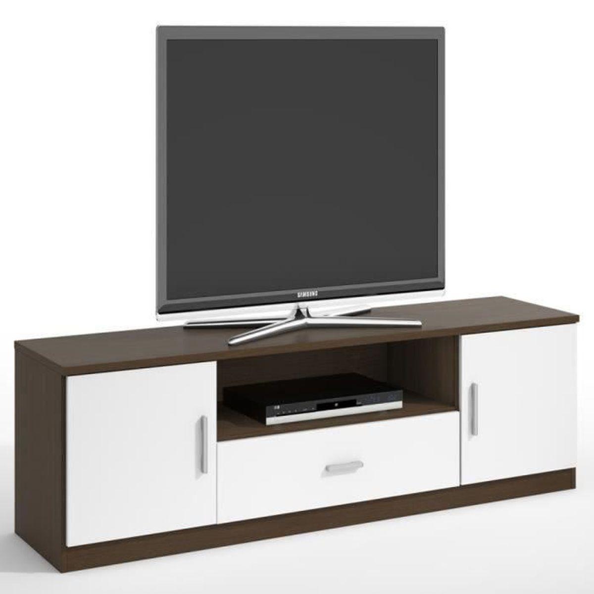 Meuble tv emily avec 2 portes et 1 tiroir coloris weng - Meuble tv wenge et verre ...