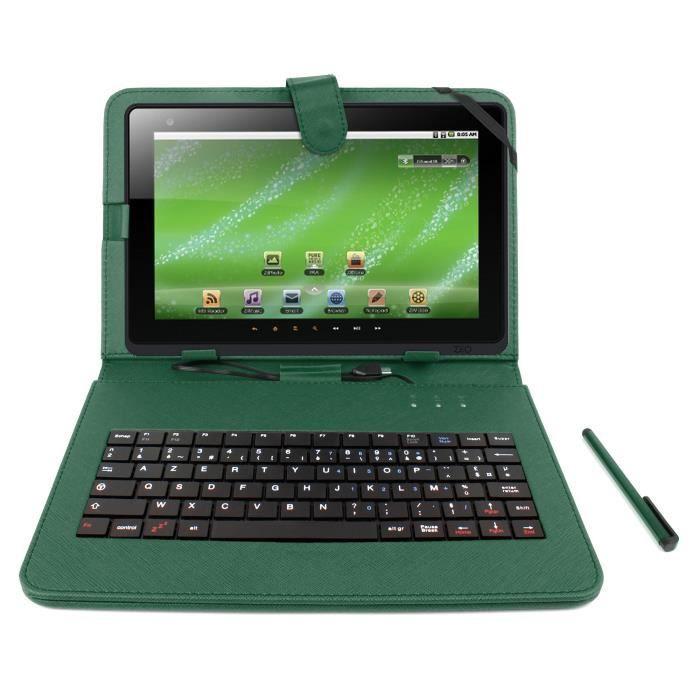 Etui vert clavier int gr azerty pour logicom tablette - Tablette logicom pas cher ...